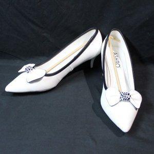 New White Ashro Heels with White Bow Detail